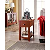 Cheap Whalen Furniture End Table with Drawer, Red