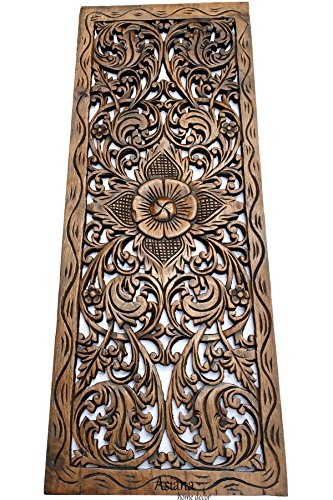 - Large Carved Wood Floral Wall Panel. Tropical Asian Home Decor in Brown Finish, Size 35.5