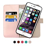 SHANSHUI Wallet Case Compatible iPhone 6/6s/7/8, Premium PU Leather RFID Blocking Detachable Magnetic Folio Flip Card Slot Kickstand Case - Rose Gold 4.7 ''