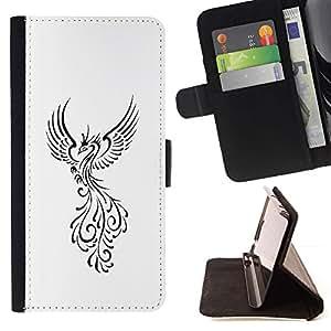 Momo Phone Case / Flip Funda de Cuero Case Cover - Pájaro de Fuego Decal Minimalista Blanca - Motorola Moto E ( 2nd Generation )