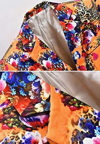 Sposa Floreale Jacket Vintage Slim Arancia Da Tuxedo Uomo Manica Lunga Premium Huixin Elegante Fit Giacca Skinny Blazer Abito xwX6qW0av