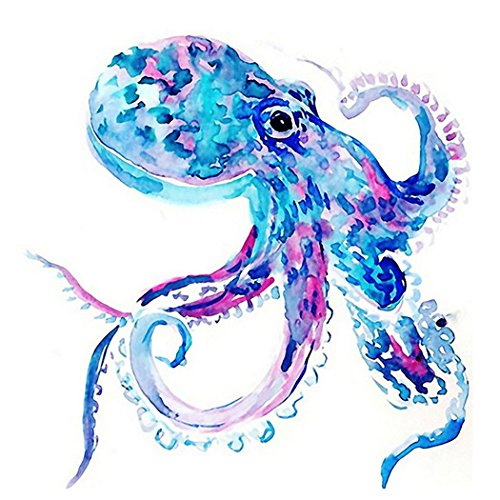 DIY 5D Diamond Painting by Number Kits, Crystal Rhinestone Diamond Embroidery Paintings Pictures Arts Craft for Home Wall Decor, Full Drill Colourful Octopus Oil Painting (LX-210ZYU-11.8x11.8in)