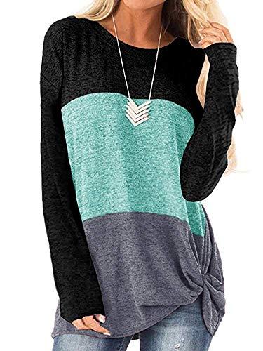 Meikulo Womens Tops Long Sleeve Color Block Twist Knot Crew Neck Casual Tunic Slim T Shirts