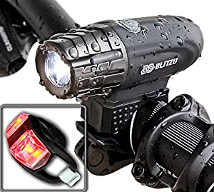 Super Bright USB Rechargeable Bike Light - Blitzu Gator 320 POWERFUL Bike Headlight - TAIL LIGHT INCLUDED. 320 Lumens LED Front Light. Waterproof, Easy Installation for Cycling Safety Flashlight by Blitzu