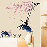 "BIBITIME Tree Branch Blooming Plum Blossom Wall Art Swing Flower Fairy Wall Decal Forest Elk Vinyl Sticker for Nursery Girl Bedroom Living Room Background Decor Mural DIY 47.24"" x 39.37"""
