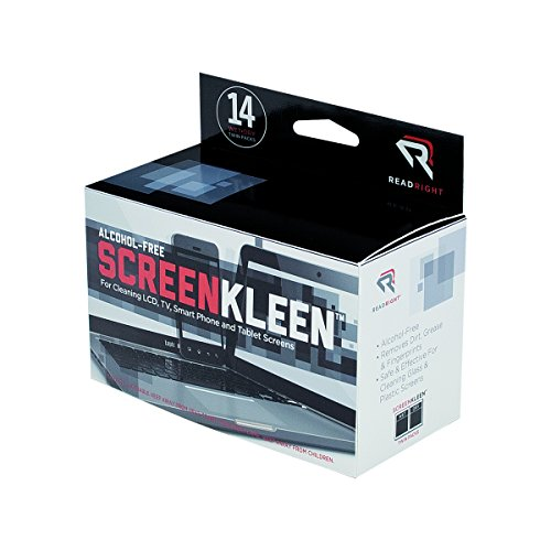 Read Right Alcohol-Free ScreenKleen Cleaning Wipes, 14 Count Wet and Dry Wipes (RR1291) ()