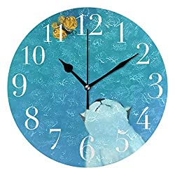 ATONO White Cat with Butterfly Silent Non-Ticking Round Wall Clock [Battery Operated] Home Decorative Easy to Read Aesthetic Kitchen Office School Living Classroom Bedroom Use