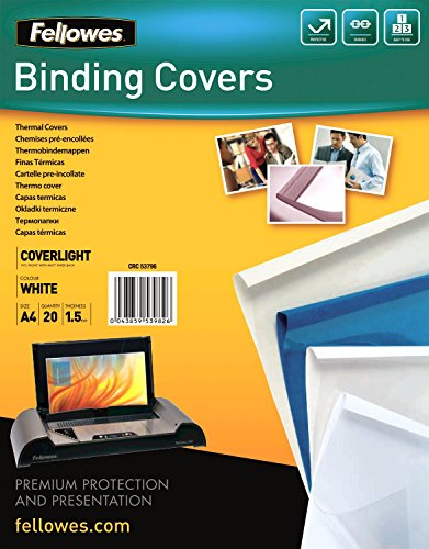 Fellowes Prestige Thermal Binding Coverlight 150 Microns PVC Front 170 g/m² Back Leather Structure - White - Fellowes Leather