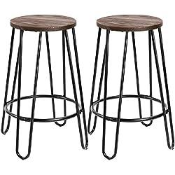 Devoko Metal Bar Stools 24'' Indoor Outdoor Stackable Round Wood Top Backless Barstools Modern Style Industrial Vintage Bar Stools Set of 2(Black)