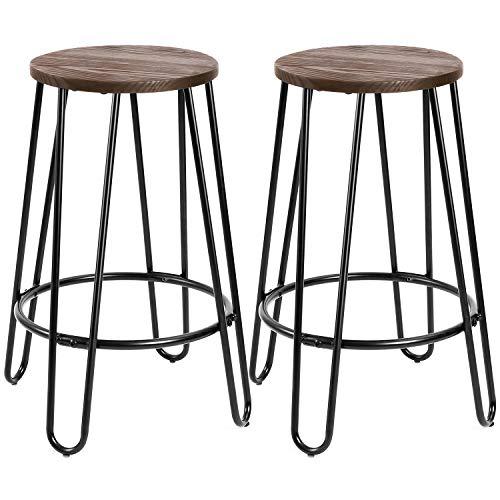 Round Set Bar Stool - Devoko Metal Bar Stools 24'' Indoor Outdoor Stackable Round Wood Top Backless Barstools Modern Style Industrial Vintage Bar Stools Set of 2(Black)