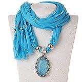 Scarf Necklace, SUMAJU Shawl Necklace Scarves Pendant Long Resin Fabric Flower Little Rhinestone