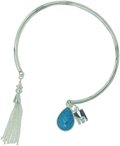 December-Turquoise, Letter I Personalized Sterling Silver Bangle-Tassel Bangle-Initial Letter Bangle