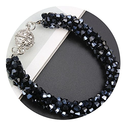Everrich Fashion Handmade Beaded Crystals Stretch Magnetic Bracelet Wrap Around Wrist Bangles for - Stretch Bracelet Blue Beaded