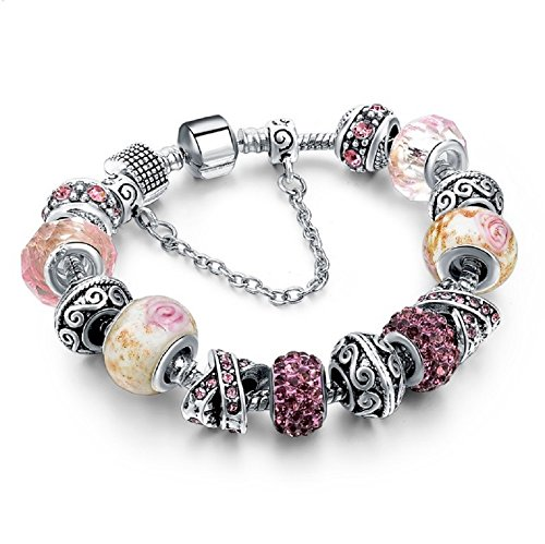 Genuine Crystal Silver Plated Classic Women Charm Beaded Bracelet. Length 7.9