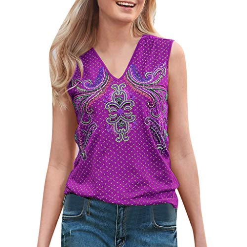 Smdoxi Summer Fashion Women's Casual Loose Classic Print Shirt Shirt Comfortable T-Shirt Purple ()