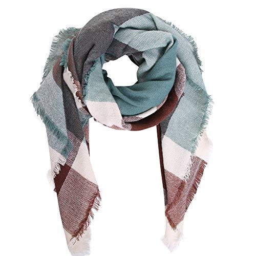 (Bess Bridal Women's Plaid Blanket Winter Scarf Warm Cozy Tartan Wrap Oversized Shawl)