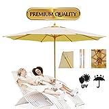 Koval Inc. 13 Ft. Wooden Outdoor Patio Umbrella (13 FT, Beige)