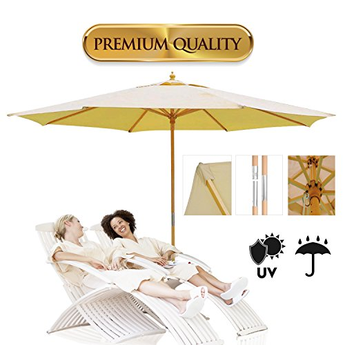 Koval Inc. 13 Ft. Wooden Outdoor Patio Umbrella (13 FT, Beige)
