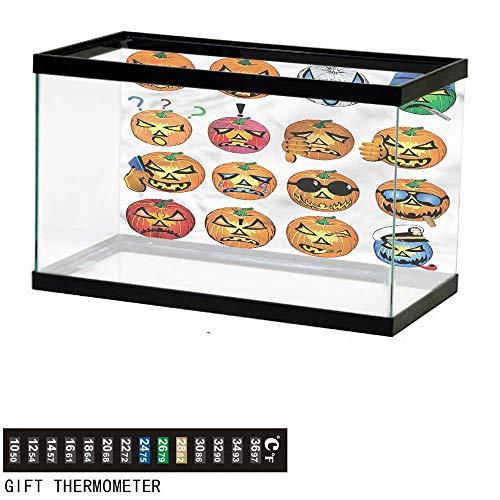 bybyhome Fish Tank Backdrop Halloween,Pumpkin Emoji,Aquarium Background,60