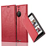 Cadorabo Case works with Nokia Lumia 1520 Book Case in APPLE RED (Design INVISIBLE CLOSURE) – with Magnetic Closure, Stand Function and Card Slot – Wallet Case Etui Cover PU Leather
