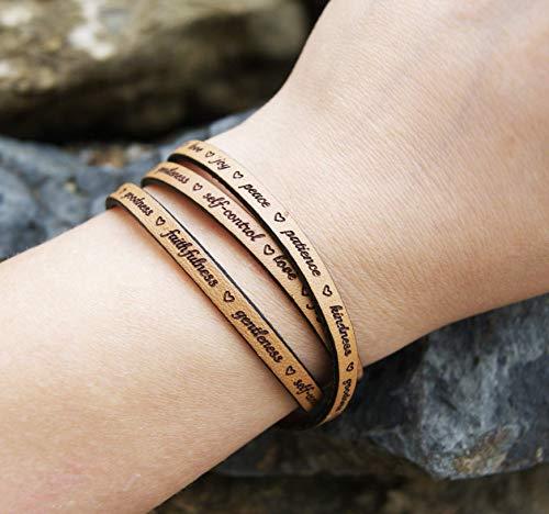 (Fruit of the Spirit Wrap Leather Bracelet For Women Galations 5 Love Joy Peace Jesus Wristband)