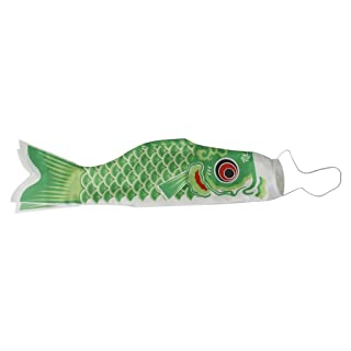 Linyena 100cm Giapponese Windsock Carpa Bandierina Koi Nobori Sailfish Fish Wind Streamer Verde