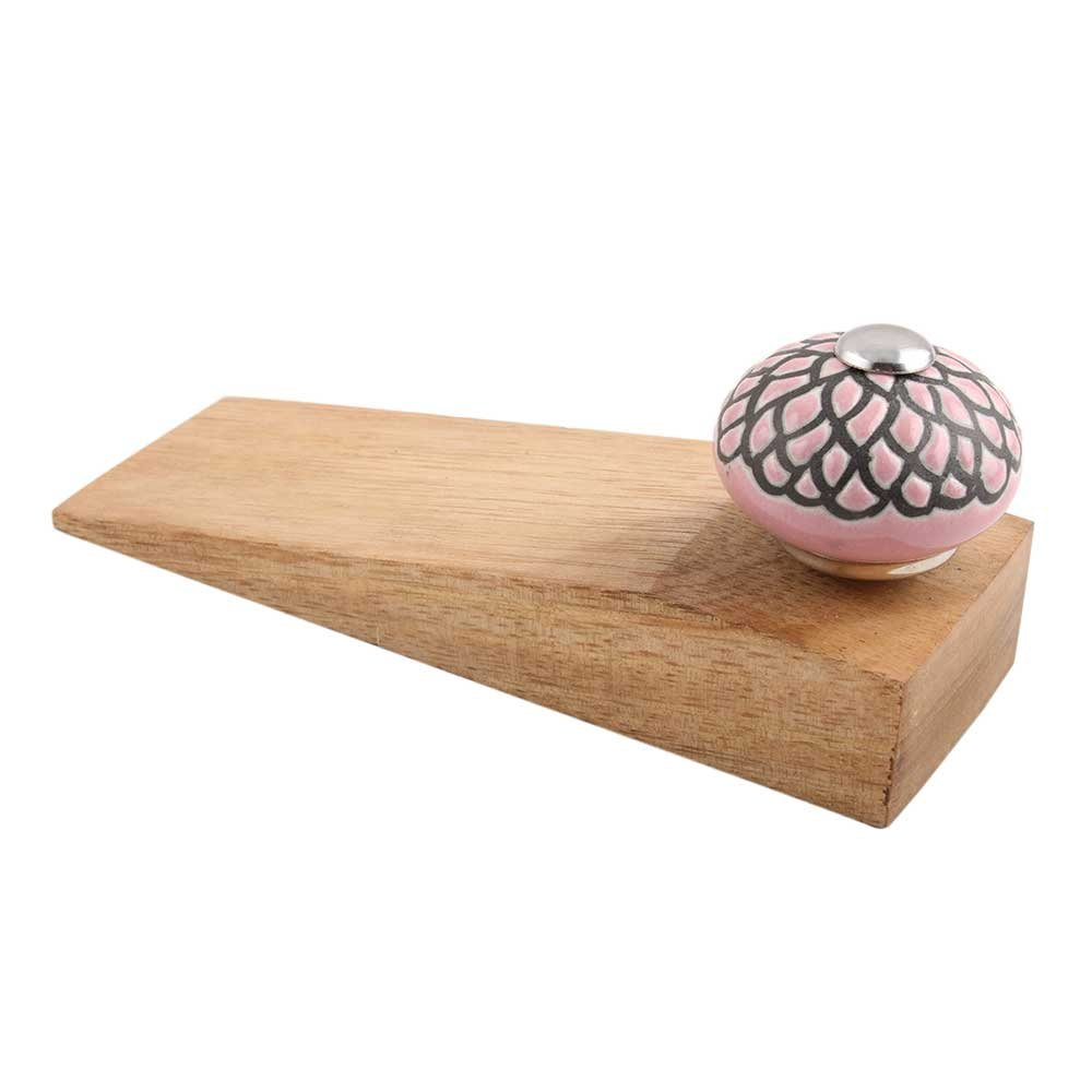 IndianShelf Handmade Pink And Black Etched Wooden Ceramic Door Stoppers Premium Stop Wedge Work On All Floors Non Stretching Strong Grip by Indian Shelf (Image #3)