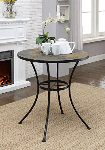 4D Concepts Round Table with Slate Top, Metal/Slate