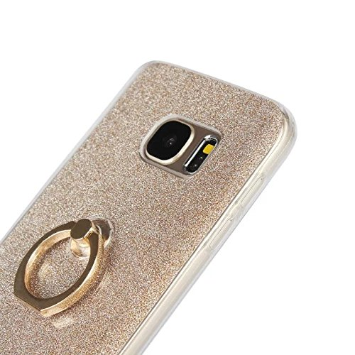 Luxus Bling Sparkle Style Case, Soft TPU [Silikon] Flexible Glitter Rückseitige Abdeckung [Anti Scratch] mit Fingerring Stand für Samsung Galaxy S7 Plus ( Color : White ) Pink