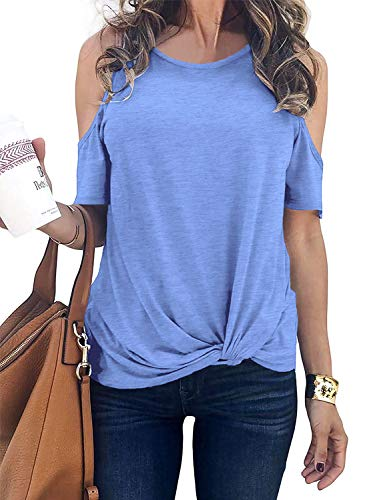 Womens Plus Size Tops Cold Shoulder Casual Loose Fit Blouse Shirts Tees Light Blue XXL