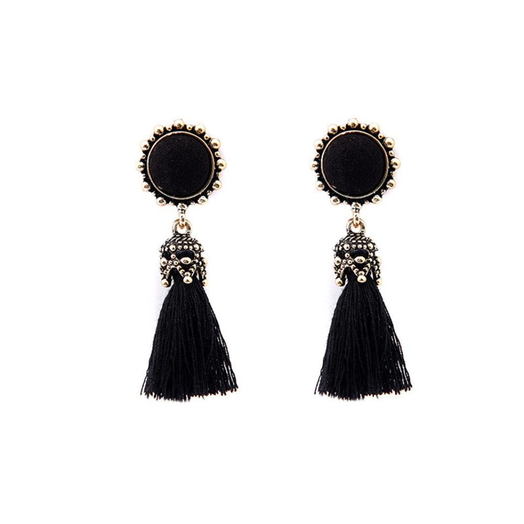 Shybuy Boho Style Tassel Dangle Earrings Jewelry Gift for Girls (Black)