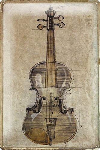"Tin Sign Bar Party Wall Decoration nostalgia violin Metal Plate 8X12"""