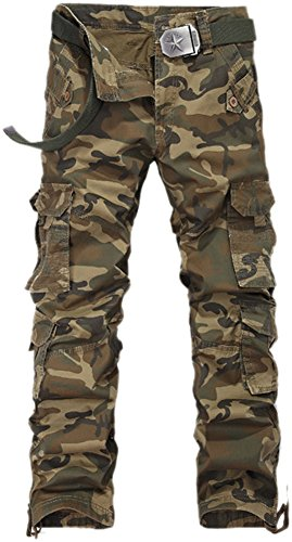 Fiream Mens Cool Casual Outdoor Loose Cotton Multi-Pocket Camouflage Cargo Pants(W2930-203,XL/34)