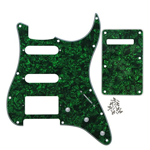 (IKN 4Ply Pearl Green 11 hole Strat HSS Pickguard Scratch Plate Guitar BackPlate with Screws Set for Standard Strat Modern Style Guitar Part)