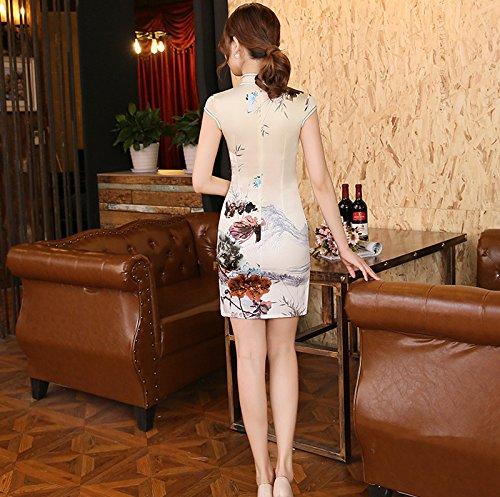 Luck Femmes Cheongsam Qipao Robe Style Chinois Motif de Fleur en Polyester