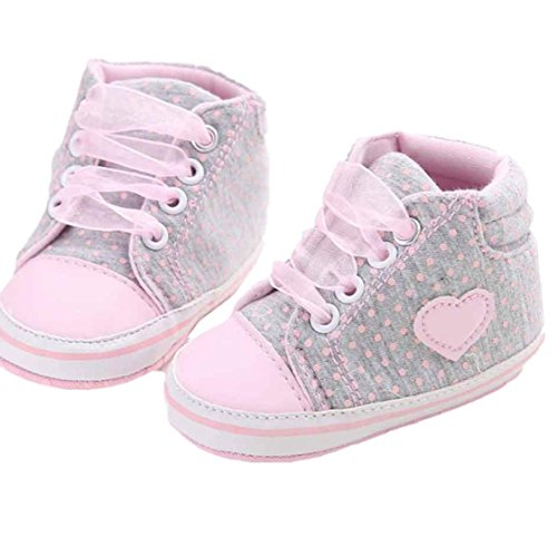 Creazy®Baby Girl Canvas Shoe Heart shape Shoes Sneaker Anti-slip Soft Sole Toddler (11, Grey) Heart Sole Sneakers