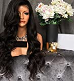 Human Hair Wigs Grade 8A Glueless Brazilian Virgin Body Wave Lace Front Wig 150% Density Natural Color 18 Inch