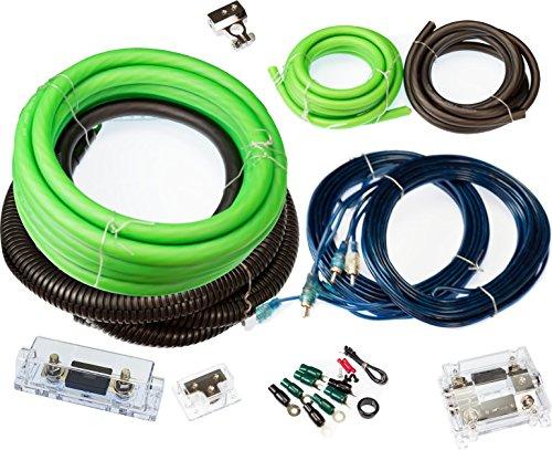 VOODOO Green True 1/0 AWG Gauge Dual Amp COMPLETE kit 0 amplifier 5000 - Wiring 01