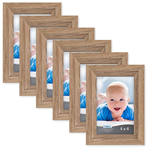 Icona Bay 4x6 Picture Frame (6 Pack, Dark Oak Wood Finish), Photo Frame 4 x 6, Composite Wood Frame for Walls or Tables, Set of 6 Cherished Memories -