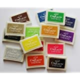 HiDven Set 15 Pcs Craft Ink Pad Korea Stamps Partner Diy Color,15 Color Rubber Stamps Craft Ink Pad for Paper Fabric Wood
