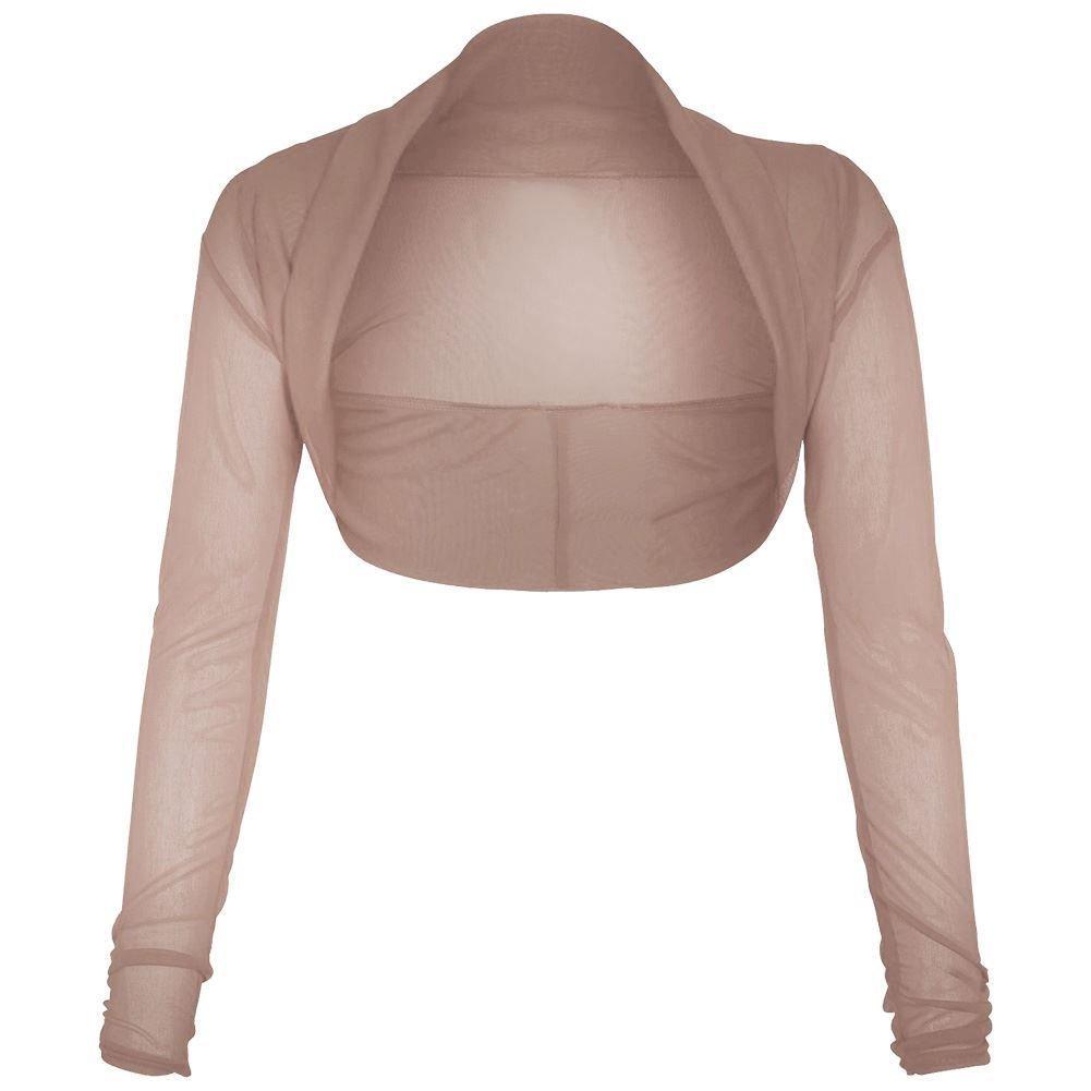 Silva /& Sons Womens Ladies Sheer Mesh Chiffon Bolero Shrug Long Sleeve Crop Cardigan Top