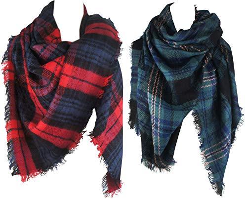 VIVIAN VINCENT 2 Pack Of Soft Luxurious Blanket Tartan Square Scarf Wrap