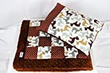 Baby Quilt Set for Crib. Patchwork Handmade Blanket and Flat Pillow Roe Woodland Nursery Bedding Set