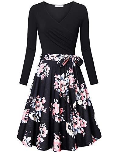 Messic Women's Long Sleeve V Neck Dresses Multicolor Black XX-Large