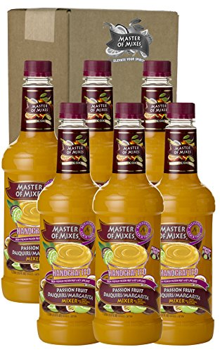 Master of Mixes Passion Fruit Drink Mix, Ready To Use, 1 Liter Bottle (33.8 Fl Oz), Pack of 6