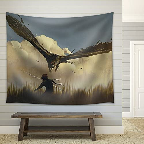 Illustration The Big Eagle Attack The Warrior from Above in a Field Illustration Painting Fabric Wall