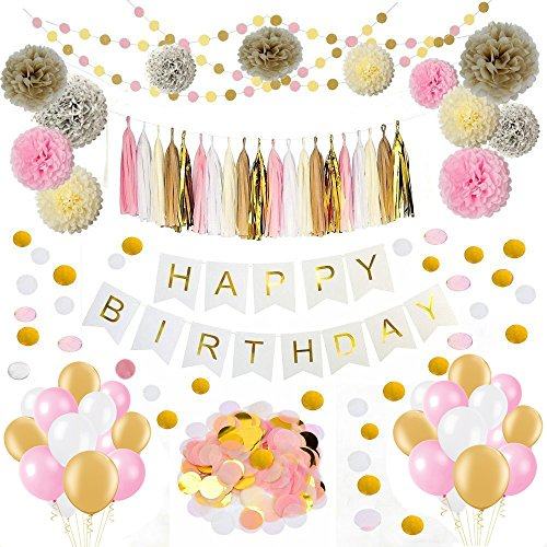 Sopeace Pink Gold Tissue Craft Decoration Kit | Pretty Party Supplies: Pom Flowers, Garland & Tassels | Paper confetti | Happy Birthday Banner for Bridal Shower Wedding Party Supplies Decor -