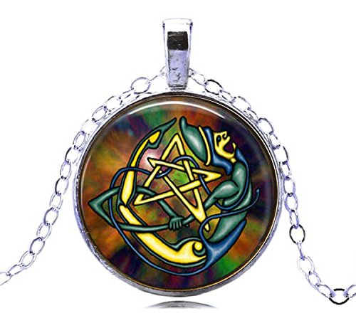 Gemingo New Fashion 2018 Pagan Occult Astrology Choker Wiccan Pentacle Necklace witch jwellery for Men& women (silver)