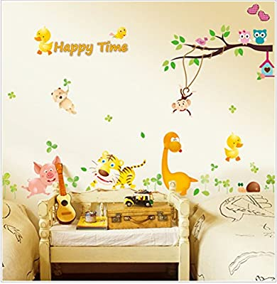 Judek Large 24x36 Inches Nursery Cartoon Forest Wall Art Stickers and Decor for Kids rooms