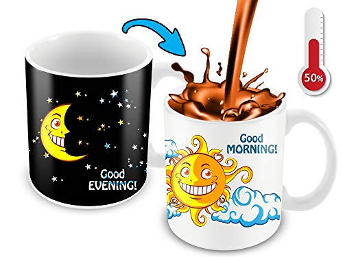 Cortunex Color Changing Mug | 11 Ounce Morning Heat Changing Mug With A Lovely Cartoon Sun And Moon | Great Christmas Gift Idea | Novelty Ceramic Color Changing Coffee Mug.